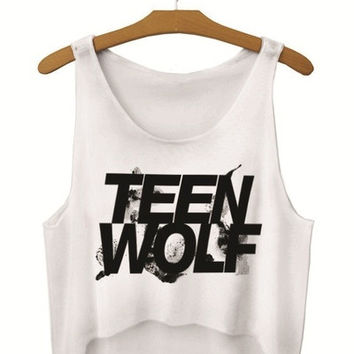 2015 summer women vest crop tops t-Shirts sexy girls emoji print tops fashion 3d print sleeveless tank tops teen wolf = 1956716420