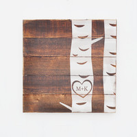 Rustic Plank Wood Sign, Initials in Tree, Heart in Tree, Anniversary Gift, Wedding Gift, Couples Gift, Bridal Shower Gift, Cottage Chic