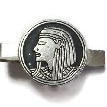 Egyptian Tie Clip Signed SWANK 50's Vintage Tie Bar Clip, Silver & Black Pharaoh, Tutankhamun King Tut Jewelry, Egypt Steampunk Accessory