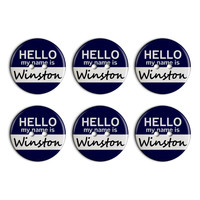 Winston Hello My Name Is Plastic Resin Button Set of 6