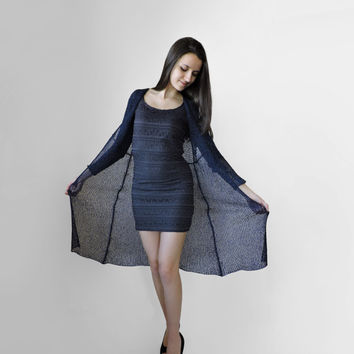 FREE SHIPPING Elegant duster coat Extra long overcoat Dark night blue Light summer spring cardigan Womens knit cardigan Knit formal overcoat