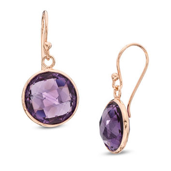 12.0mm Round Faceted Amethyst Drop Earrings in Sterling Silver with 14K Rose Gold Plate