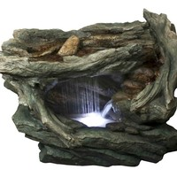 "31"" LED Lighted Woodland Grotto with Stones Spring Outdoor Garden Water Fountain"