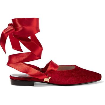 The Morning After embossed velvet flats | MR by MAN REPELLER | Sale up to 70% off | THE OUTNET