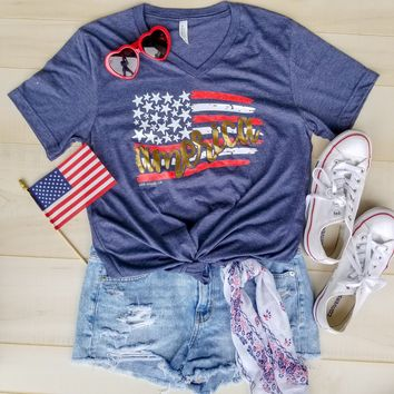 America Flag V-neck {H. Navy}