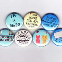 MOONRISE KINGDOM badges - set of 7 - Wes Anderson rushmore life aquatic steve zissou bill murray The Darjeeling Limited Royal Tenenbaums
