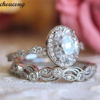 choucong Vintage Promise ring set AAAAA Zircon Cz 925 sterling silver Engagement Wedding Band Rings for women men Flower Jewelry