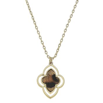 Brown And Black Leopard Animal Print Moroccan Necklace