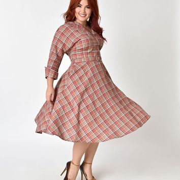 Unique Vintage Plus Size 1950s Style Pink Plaid Cotton Sleeved Brooklyn Shirtdress