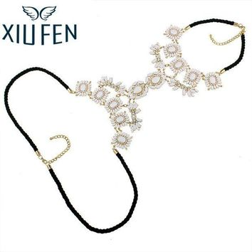 ac ICIKO2Q XIUFEN XY Fancy Multi Layer Flower Chains Allloy Resin Elegant Flower Women Back Sexy Body Chains Summer Dress Necklaces