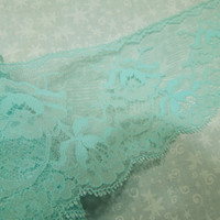 1 yard of 3 1/2 inch mint green flat chantilly lace, raschel lace with scalloped edge for bridal, baby, lingerie by MarlenesAttic - Item OM