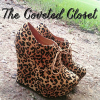 Leopard Print Lace Up Wedge Booties
