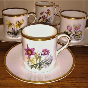 Royal Worcester - Alpine Flowers Fine Bone China - COMPLETE SET of 4 Vintage Demitasse Cups & Saucers Espresso Cups