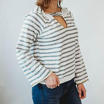 Loop Neck Striped Hoody - Gray