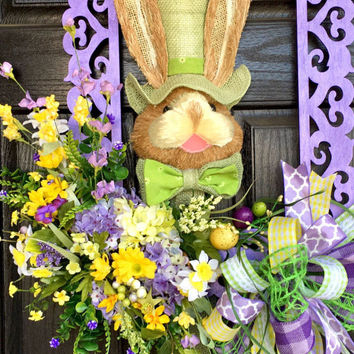 Spring wreath, Spring door hanger, Easter decortion, Spring decoration, spring front door wreath, Spring decor, Easter decor, bunny wreath
