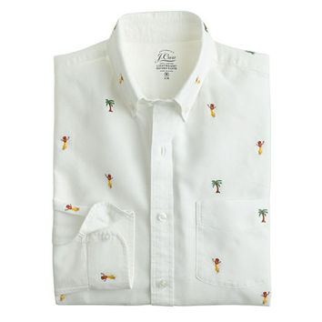 J.Crew Mens Slim Lightweight Oxford Cloth Shirt With Embroidered Hula And Palms