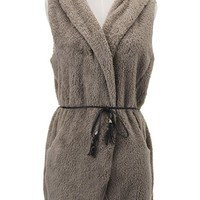 'The Cammeo' Gray Fur Sleeveless Sweater with Belt