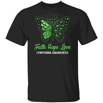 Faith Hope Love Green Butterfly Lymphoma Awareness
