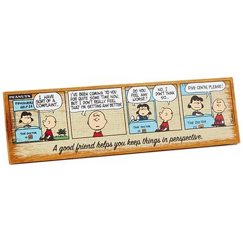 Hallmark Peanuts Charlie Brown and Lucy Good Friend Wood Quote Sign New