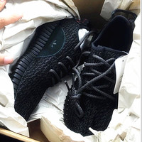 "Fahion ""Adidas"" Women Yeezy Boost Sneakers Running Sports Shoes Black army logo"