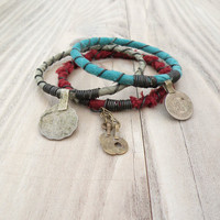 Silk Road Gypsy Bangle Stack - Ghulja - 3 Bohemian Tribal Bracelets, Silk Wrapped, Maroon, Sage, Turquoise