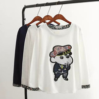 Floral Print Cartoon Embroidery Long Sleeve T-shirt