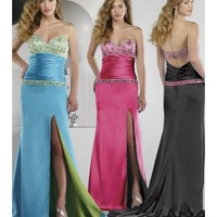 Beautiful Cheap Charmeuse Sweetheart Slim Line Party Dress With A Wide Pleated Dropped Waist And Jeweled Trim LP80045