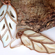 Carved Mother Of Pearl Earrings Leaf Shape Dangle Earrings Copper Edging Gifts For Her