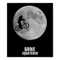 Bigfoot on bike with moon background posters from Zazzle.com