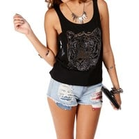 SALE-Black Rhinestone Tiger Crop Top