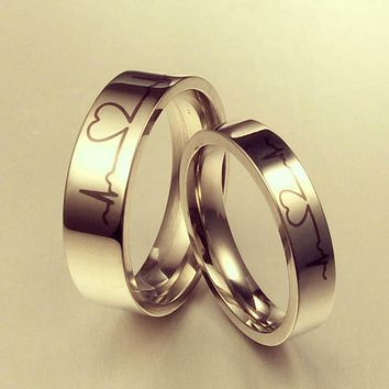 1pcs Titanium Steel Ring Never Fade Engagement  Heart Beat Simple Ecg Rings Women & Men Wedding Couple Rings