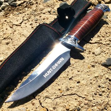 """10"""" Hunt-Down Fixed Blade Knife engraved Handle and Nylon Sheath"""