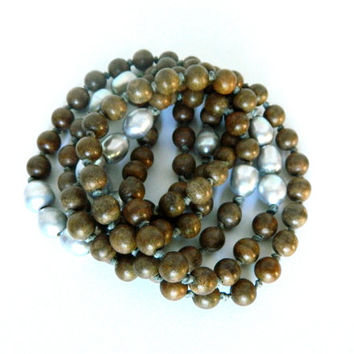 "Wood bead, Large Grey Baroque Pearl necklace hand knotted on Irish waxed Linen 46""L ~ Boho ~ Boutique Chic ~ Layer necklace"