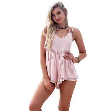 Women Jumpers And Rompers Sleeveless Spaghetti Strap Backless Cross-Criss Loose Playsuit Summer Beach Bodysuit Pink