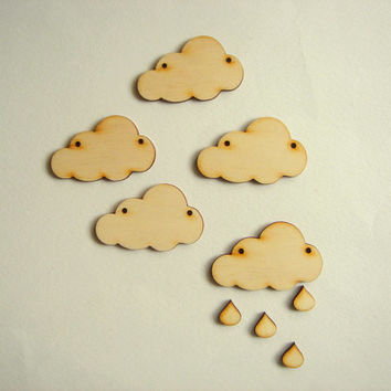 Laser Cut Wood Cloud,Wood Supplies for Jewelry