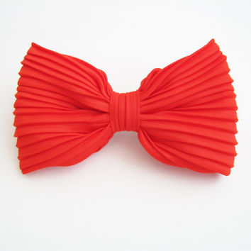 Orange oversize bow hair clip, statement bow clip, women's hair accessory