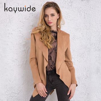 DICLOUD 2018 Spring Women Leather Suede Coat New Arrival Turn-down Collar Long Sleeve Belt Elegant Outwear Trench Coats KW177005