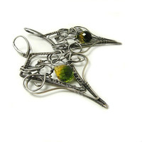 Luxury silver wire wrapped earrings , yellow green quartz , long earrings , wirework