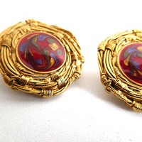 Vintage Gold/Red enamel Earrings Statement modern Boho Fashion forward Holiday parties New Years