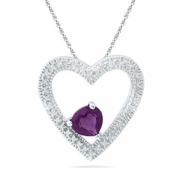 10kt White Gold Womens Round Lab-Created Amethyst Heart Pendant 5-8 Cttw