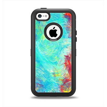 The Vibrant Colored Messy Painted Canvas Apple iPhone 5c Otterbox Defender Case Skin Set