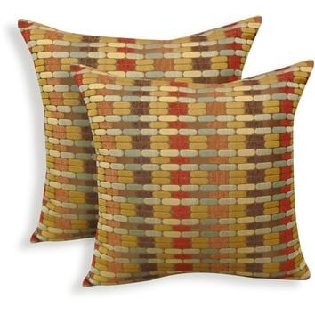 Better Homes and Gardens Golden Bricks Toss Pillow Pack Of 2 Red Standard