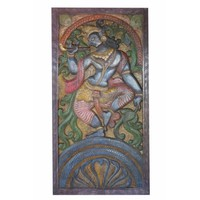 Mogul Antique Vintage Hand Carved Krishna Dance On Snake Kaliya Panel Barn Door Wall sculpture - Walmart.com