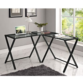 X-frame Glass & Metal L-Shaped Computer Desk - Smoke/Black