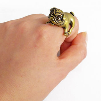 Punk Pug Dog Ring Animal Ring