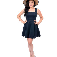 Navy Blue Scalloped Sleeveless Scuba Knit Flare Dress