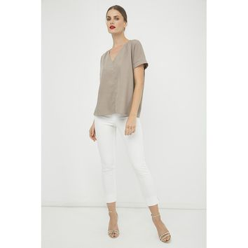Almond V-Neck Sleeves Top