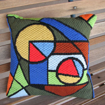 Mid Century Modern Crewel Embroidery Throw Pillow, 1970s Needlework Pillow, MCM Pillow, MCM Home Decor, 1970s Decorative Pillow