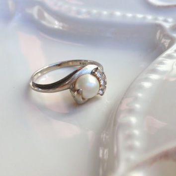 Vintage Pearl Ring Ladies 10k white sapphires engagement 1960's June birthstone   10% OFF coupon in item detail