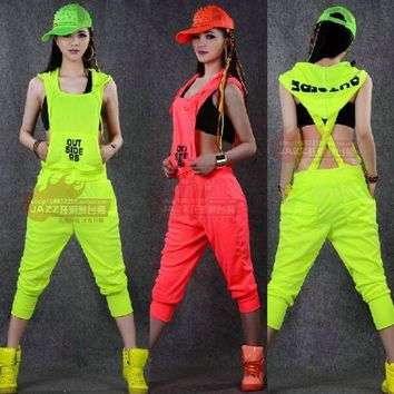 DCCKU62 2015 New fashion Hip Hop Dance Costume performance wear European loose leopard harem jazz jumpsuit one piece Pants